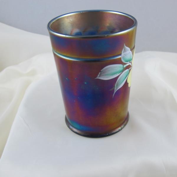 Antique Northwood Enameled Apple Blossom Blue Carnival Glass Tumbler