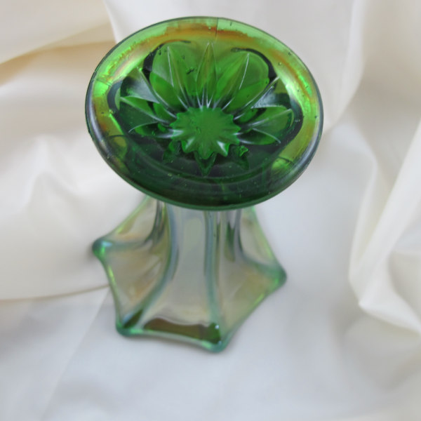 Antique Imperial Green Morning Glory Carnival Glass Mini-vase