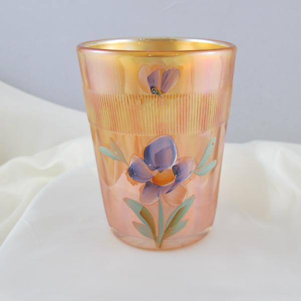 Antique Fenton Enameled Forget Me Not Marigold Carnival Glass Tumbler
