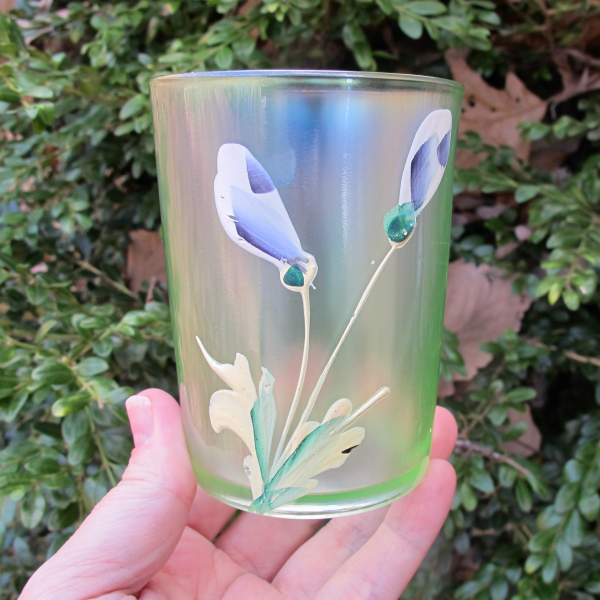 Antique Fenton Enameled Crocus Ice Green Carnival Glass Tumbler