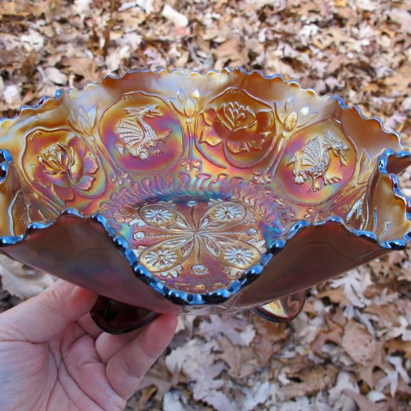 Antique Fenton Dragon & Lotus Amethyst Carnival Glass Footed Bowl