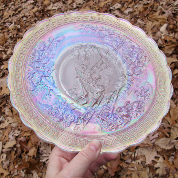 Imperial White Homestead Carnival Glass Chop Plate