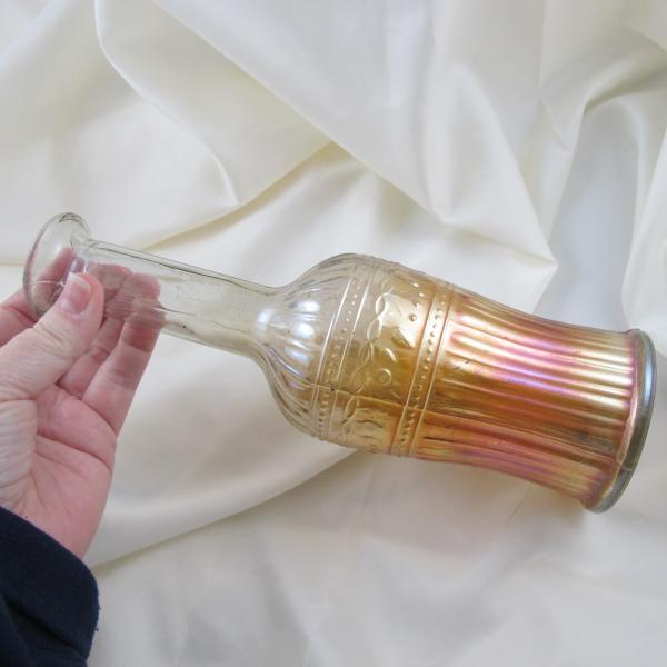 Antique Piccardo Fruit Band Marigold Carnival Glass Cordial Set Decanter + 4 Cordials
