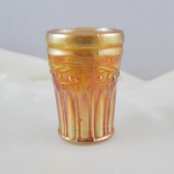 Antique Piccardo Fruit Band Marigold Carnival Glass Cordial (Miniature) 2