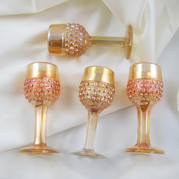 Antique Brockwitz Miniature Hobnail Marigold Carnival Glass Cordial Set