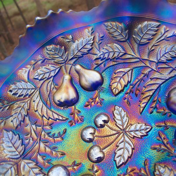 Antique Northwood Blue Three Fruits Stippled Carnival Glass Bowl