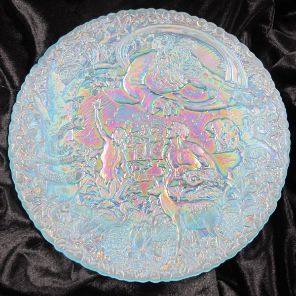 Fenton Garden of Eden Ice Blue Carnival Glass Plate - Fenton Museum!