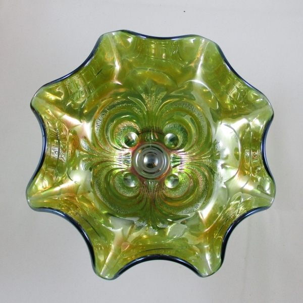 Antique Imperial Helios Green Scroll Embossed Carnival Glass Compote