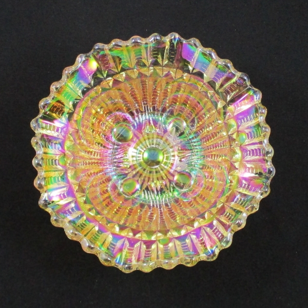 Antique Imperial Pastel Marigold Scroll Embossed Carnival Glass Small Bowl