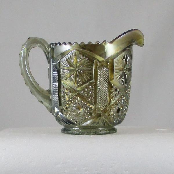 Antique Imperial Star & File Smoke Carnival Glass Creamer Cream Pitcher