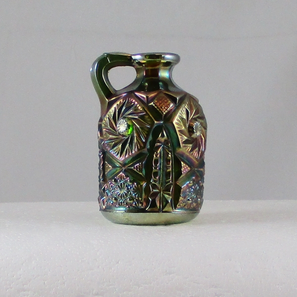 Antique Cambridge Green Buzz Saw Carnival Glass Small Cruet