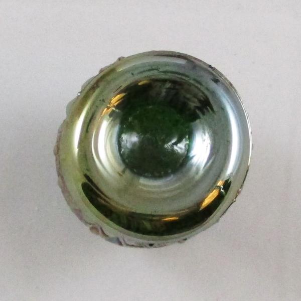 Antique Cambridge Green Buzz Saw Carnival Glass Small Cruet