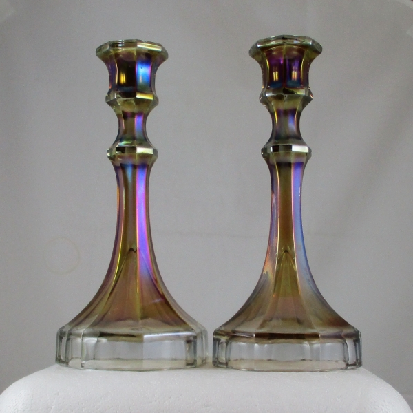 Antique Imperial Smoke Colonial #419 Delta Base Carnival Glass Candleholders