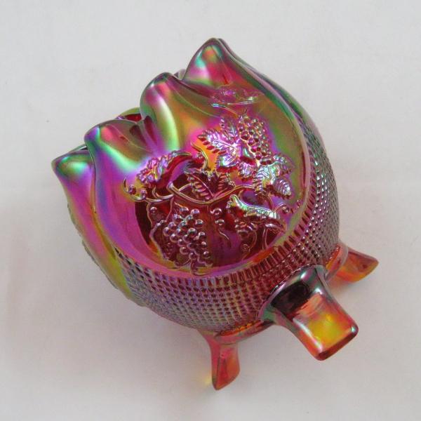 Fenton Red Fine Cut & Grape Carnival Glass Rose Bowl