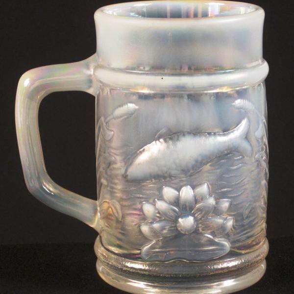 Fenton PNWCGC White Opal Carnival Glass Fisherman's Mug