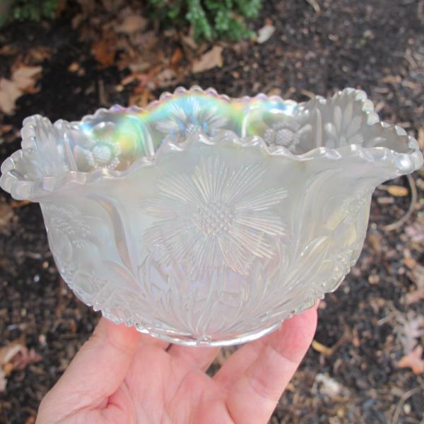 Antique U.S. Glass White Cosmos & Cane Carnival Glass Square Nut Bowl