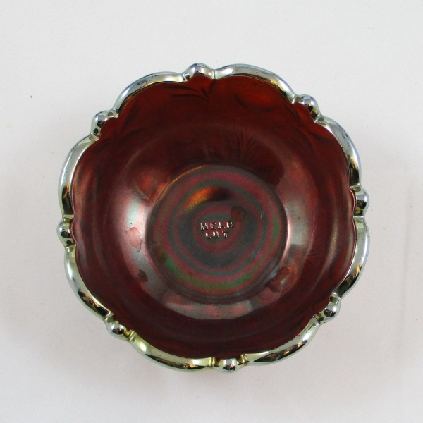 Antique Cambridge Amethyst Inverted Strawberry Carnival Glass Sauce