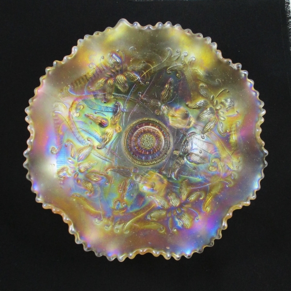 Antique Northwood Wishbone Pastel Marigold Carnival Glass Bowl
