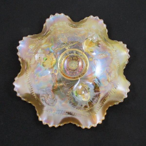 Antique Northwood Wishbone Pastel Marigold Carnival Glass Bowl
