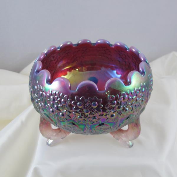 Fenton Plum Opalescent Opal Fenton's Flowers Carnival Glass Rose Bowl