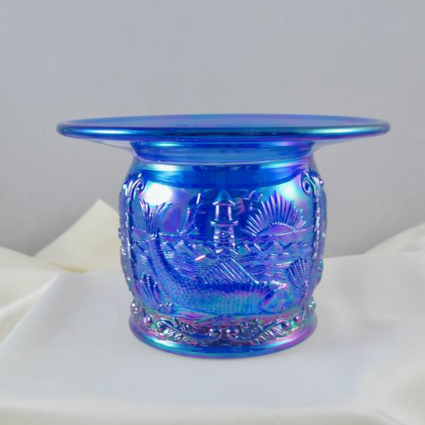 Fenton Cobalt Blue Seacoast Carnival Glass Spittoon