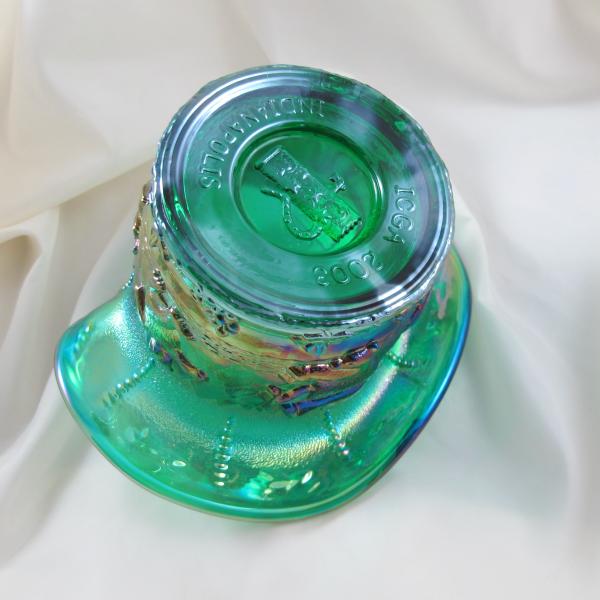 Fenton Spruce Emerald Green Frolicking Bears Carnival Glass JIP Vase