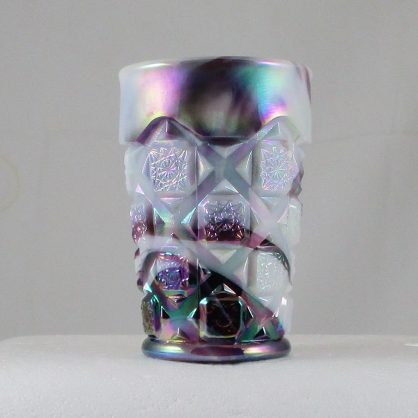 Westmoreland for Levay Purple Slag #500 Checkerboard Carnival Glass Tumbler
