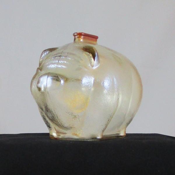 Anchor Hocking Marigold Pig Carnival Glass Large Piggy Bank