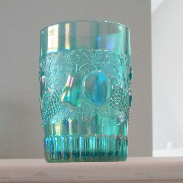 Westmoreland for Levay Turquoise Della Robia Carnival Glass Tumbler