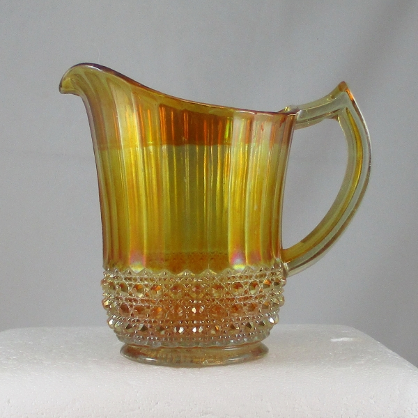 Antique Imperial Marigold Flute & Cane Carnival Glass Milk Pitcher
