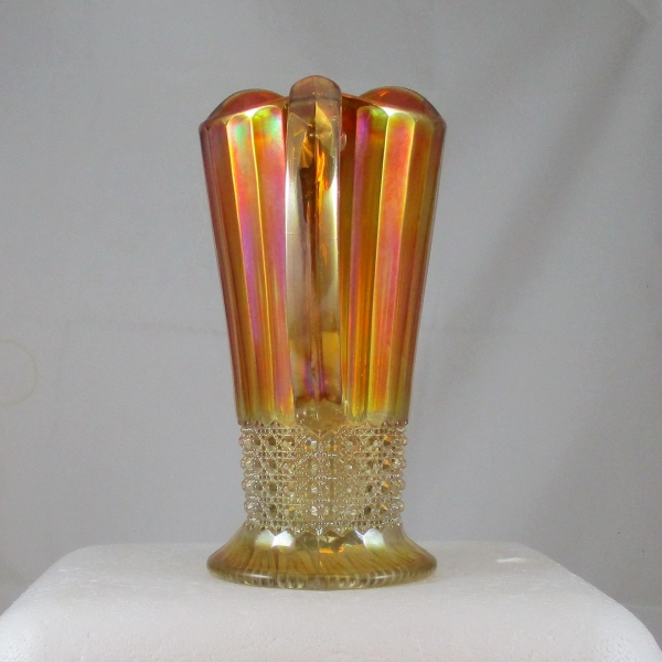 Antique Imperial Marigold Flute & Cane Carnival Glass Pitcher