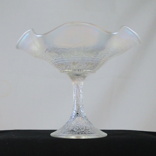 Antique Northwood White Hearts and Flowers Carnival Glass Compote