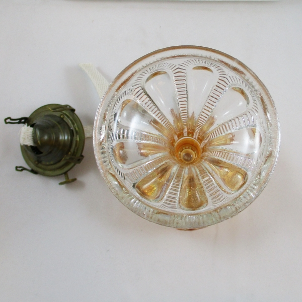 Antique Imperial Marigold Zipper Loop #201 1/2 Carnival Glass Stand Lamp
