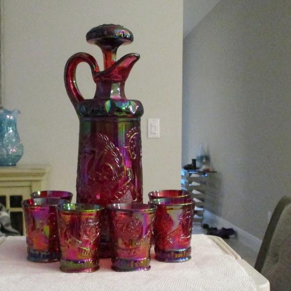 Fenton for HOACGA Red Good Luck Carnival Glass Whiskey Set Bicentennial Decanter & Shot Glasses