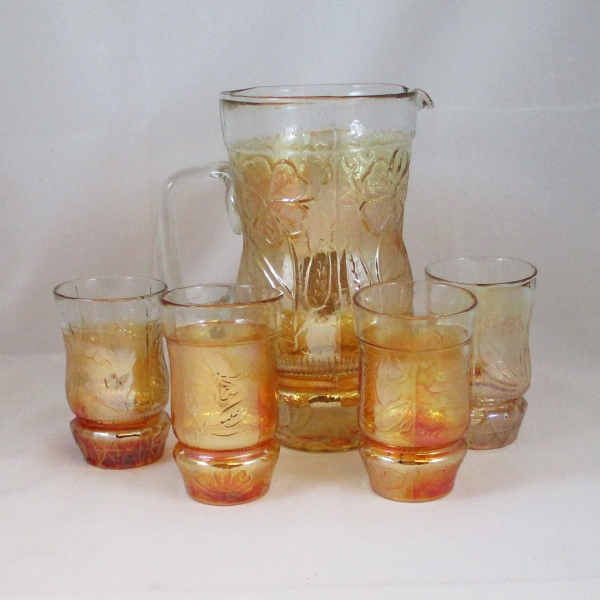 Antique Indian Jain? Australian Daisy Marigold Carnival Glass Water Set