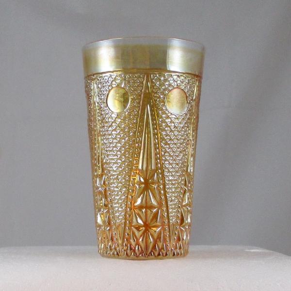 Antique Jain Beaded Spears Marigold Carnival Glass Tumbler
