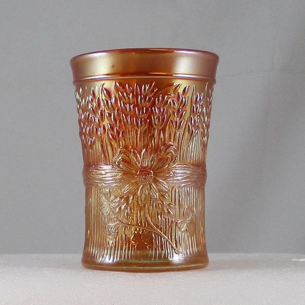 Antique Dugan Diamond Marigold Harvest Flower Carnival Glass Tumbler