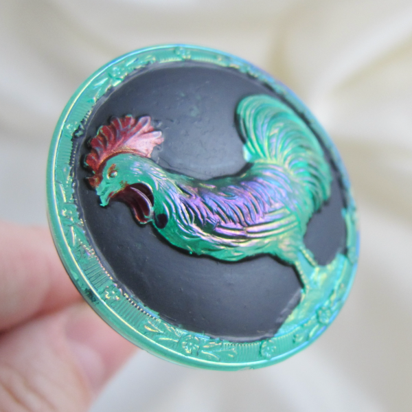 "Antique ""Rooster"" Painted TEAL Carnival Glass Hatpin"