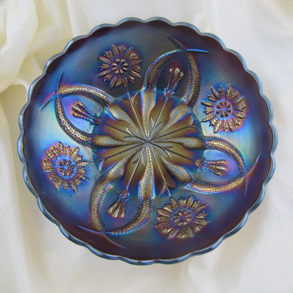 Antique Brockwitz Four Flowers Variant Amethyst Carnival Glass Deep ICS Bowl