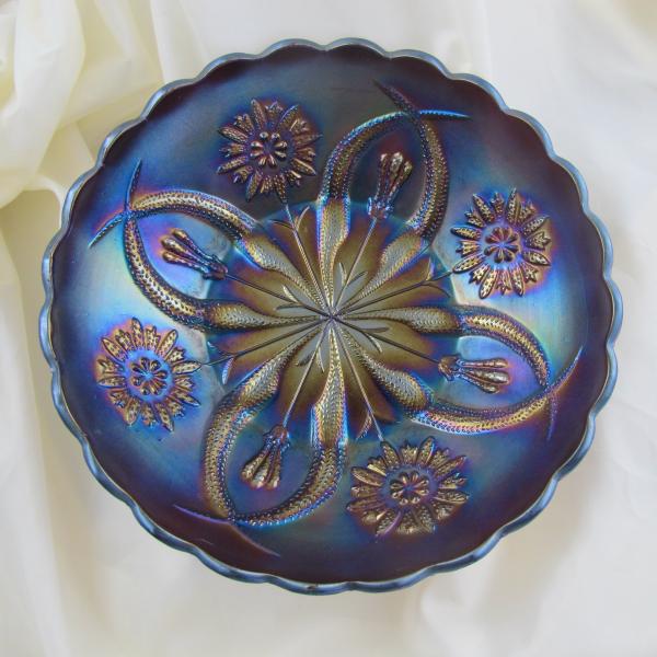 Antique Brockwitz Four Flowers Variant Amethyst Carnival Glass Deep ICS Bowl