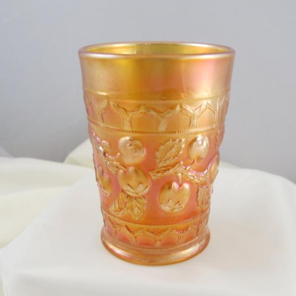 Antique Fenton Apple Tree Marigold Carnival Glass Tumbler