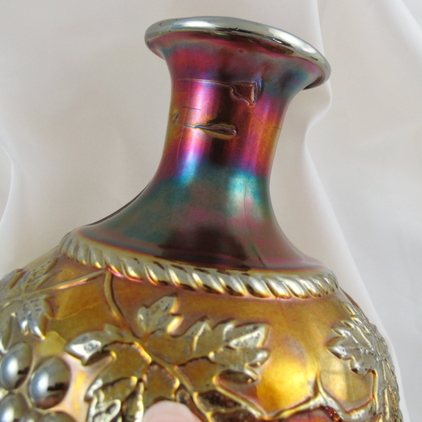 Antique Northwood Grape & Cable Amethyst Carnival Glass Cologne Bottle
