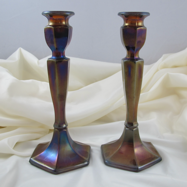 Antique Fenton Amber Florentine #349 Stretch Carnival Glass Candleholders