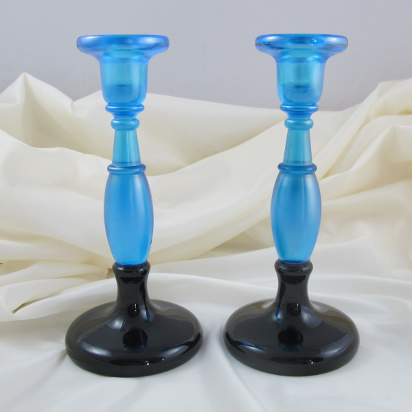 Antique Fenton #549 Celeste Blue Stretch Carnival Glass Candleholders BLACK BASE!