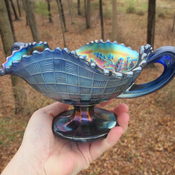 Antique Northwood Blue Fruits & Flowers Carnival Glass Bon Bon