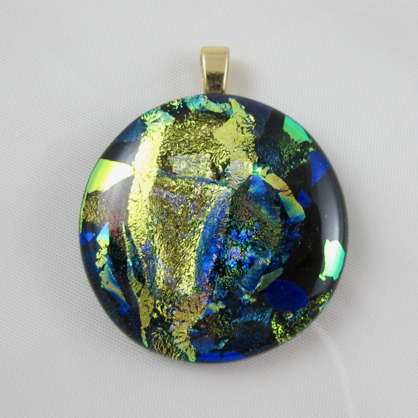 Handcrafted Black Amethyst Dichroic Foil Round Art Glass Pendant