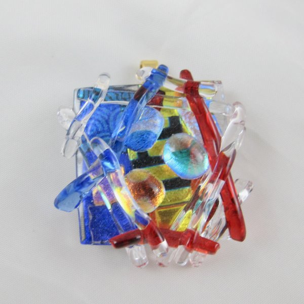 Handcrafted Fused Dichroic Art Glass Pendant 3D!