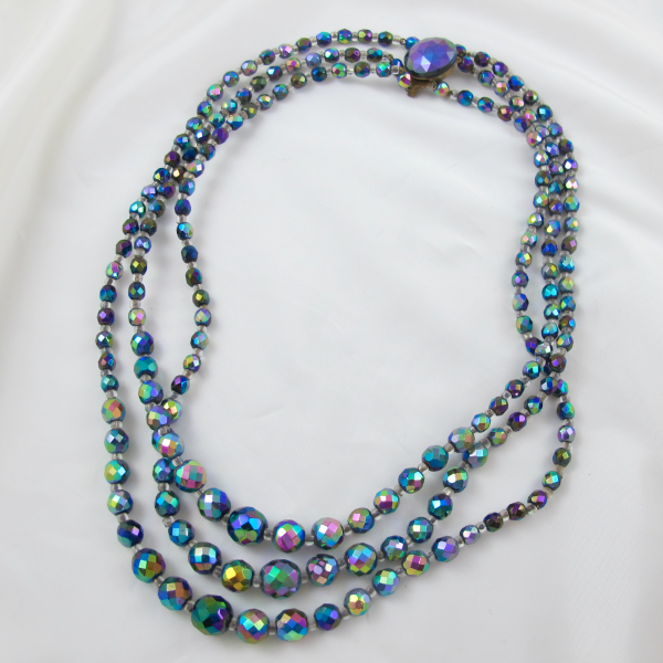 Vintage Carnival Bead Three Strand Necklace