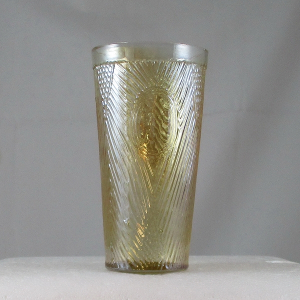 Antique Jain? Mirror & Crossbars Marigold Carnival Glass Tumbler