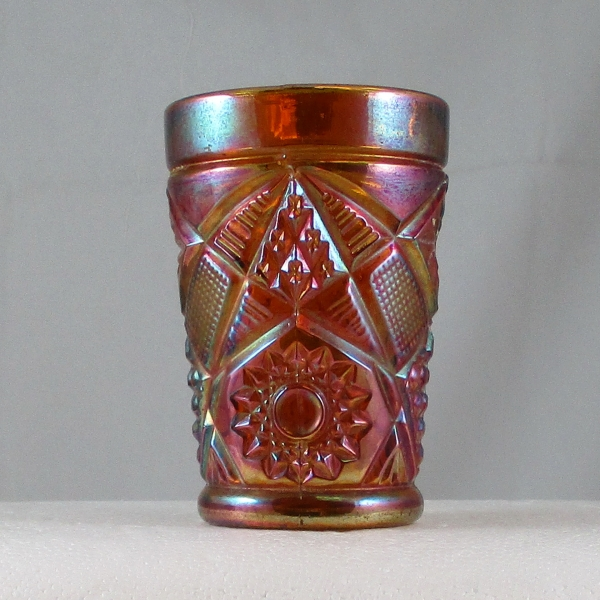 Antique South American Amber Omnibus Carnival Glass Tumbler